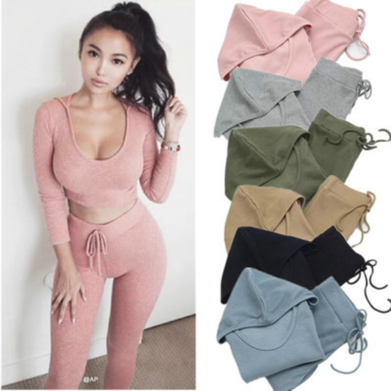 Sexy Pants And Shout t shirt Women Sweatsuits 2018 Two 2 Piece Set Navel Women Cropped Tracksuit Set Suits Track Suit Female