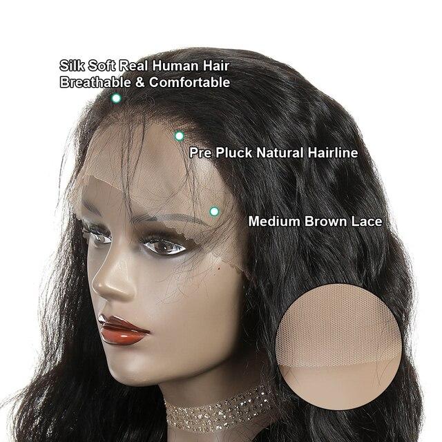 Ali Grace pełna peruki typu lace z ludzkich włosów z dzieckiem włosy 130% 150% gęstość wstępnie oskubane brazylijski ciało fala peruka na koronce Remy włosy