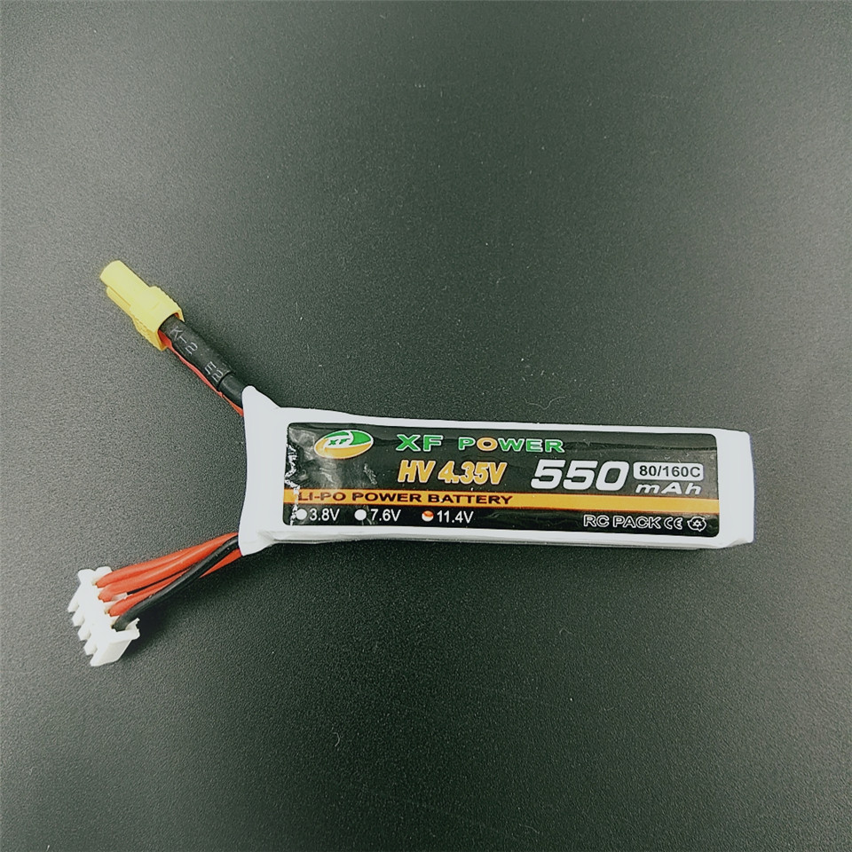 High Voltage Battery HV 4.35V <font><b>3S</b></font> 11.4V <font><b>550mAh</b></font> 80C/160C Battery XT30 Plug for URUAV FPV Racing Drone Aircraft Quadcopter image