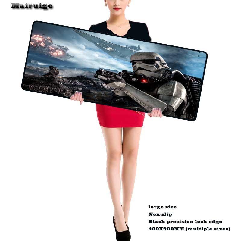 Mairuige Gaming Star War Large Mouse Pad Durable Mat with Locking Edge Rubber 900*400*2mm for Dota LoL CSGO Desktop PC Laptop