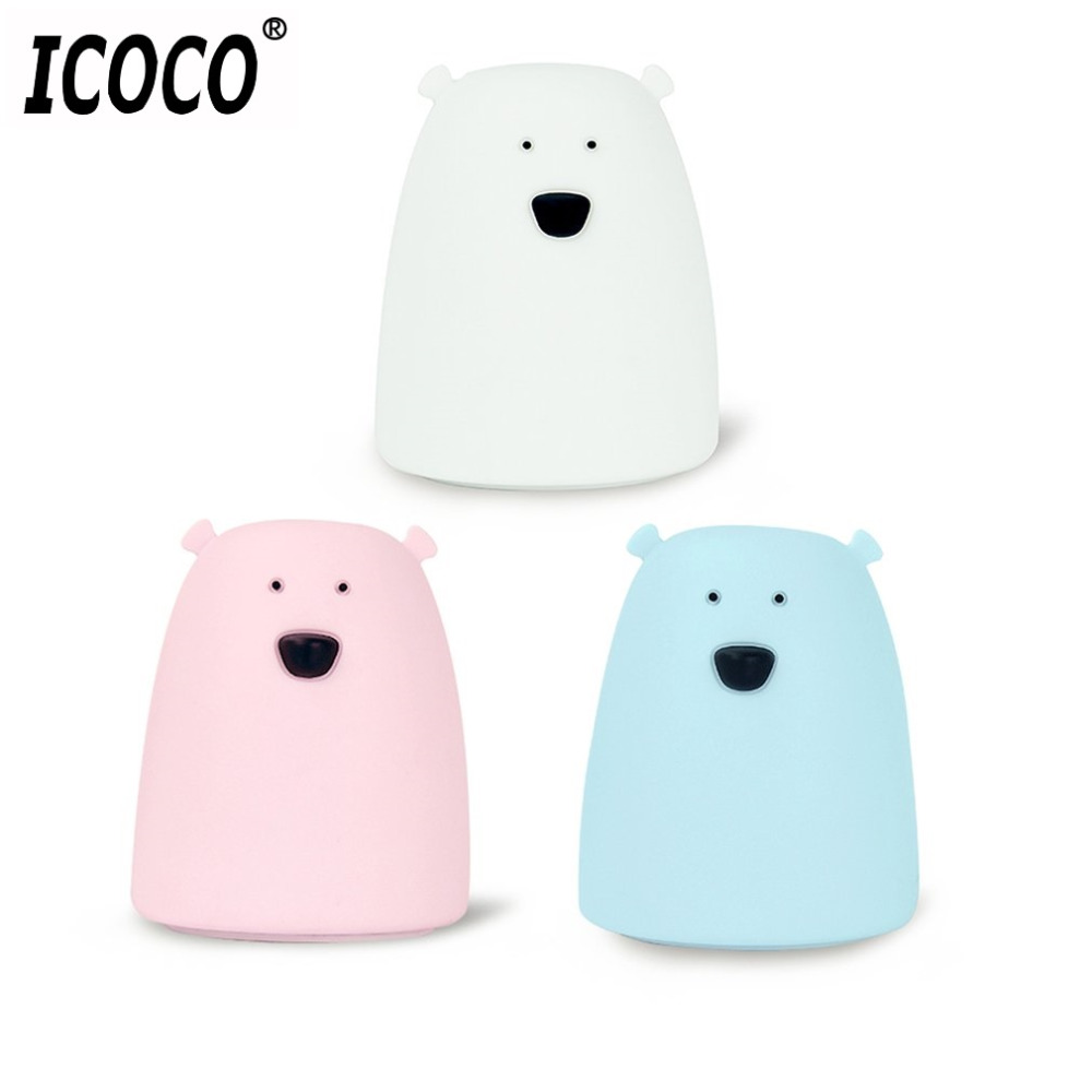 ICOCO Battery Powered Silicone Bear Shape Night Light Clever Animal Night Lamp Seven Colors Soft Light Table Desk Lamp Bedroom