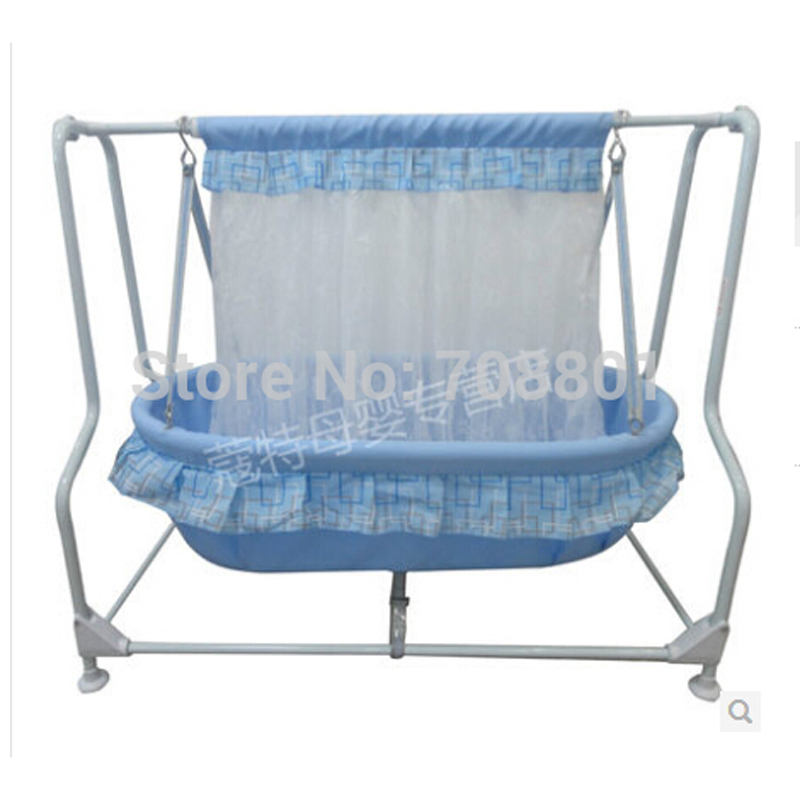 Baby Swing Cradle Steel Frame 100% Cotton Baby Mat Bassinet Baby Rocker With Mosquito Net Baby Mat corn husks cradle no paint wood frame cotton baby bassinet with mosquito net and mat steel frame baby cradle baby rocking crib