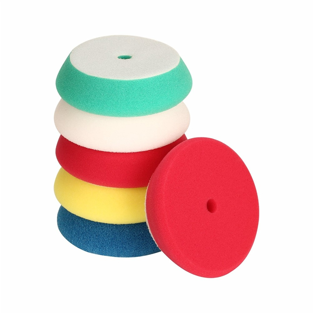 SPTA 5Pcs Polishing Buffing Pad 4inch 100mm For 3 Backing Pad RO/DA/Air Polisher, Random Orbit Dual Action Polisher Mix Color spta 29pcs drill buffing buffer detail polishing polisher pad kit 5 8 11 m14 thread backing backer plate pad