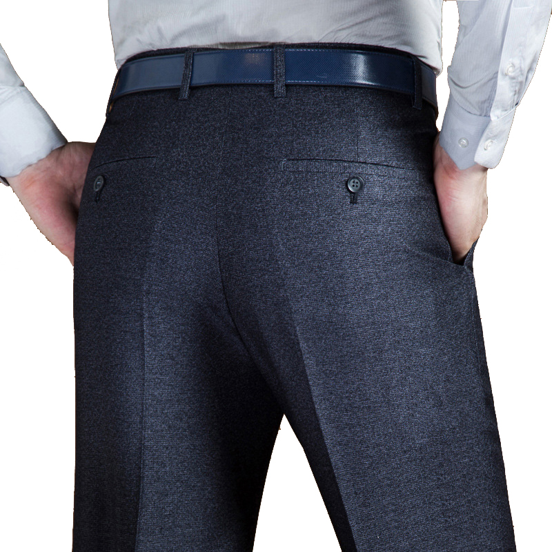 Autumn Winter Thick Double Pleated Dress Trousers Men High Waist