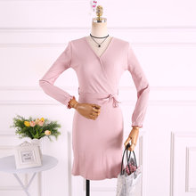 a8157373e75 Корейский стиль Женская одежда модные бренды Slim fit однотонные платья  женские осенние v-образным вырезом