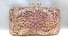 Freies verschiffen!! A15-30, rosa farbe mode top kristallsteinen ring handtaschen für damen nette parteibeutel