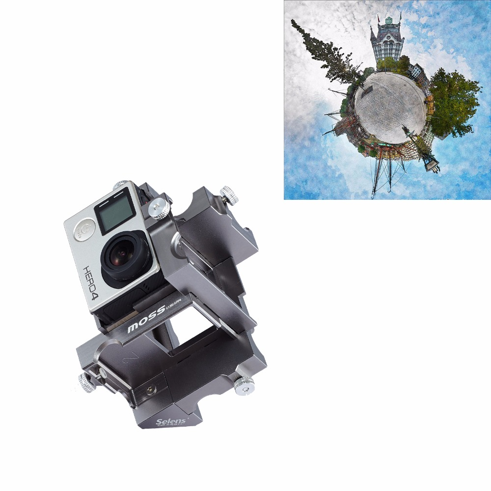 Selens SE-GPP6 360 Panoramic Aluminium Holder Spherical Video Mount Sport Camera Accessories for GoPro Hero 3+/4 three dimensional adjustable helmet side mount for gopro hero 3 3 2 1 black
