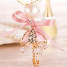 Charm Rhinestone Keychan Umbrella Keychains Alloy Trinket Key Chains for Cars Keyrings Charm Pendant Girl Gifts Woman Ornaments
