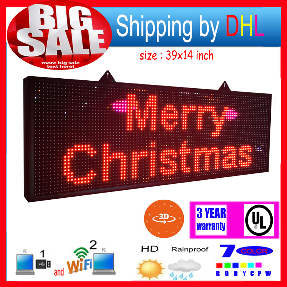 Humble Wifi Wireless Control Led Rolling Display P13rgb Outdoor 7-color 3d Effects Led Signs 39x14inch Programmable Display Panel Led Displays