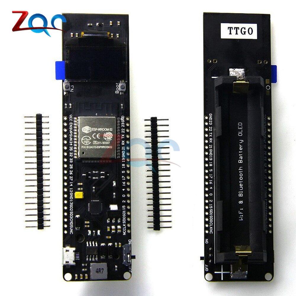 TTGO ESP32 0.96 ''0.96 pouce OLED Affichage WiFi Bluetooth 18650 Batterie Au Lithium Conseil de Développement Bouclier CP2102 Module ESP8266