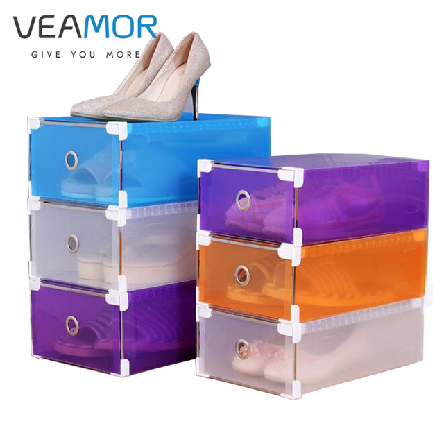 VEAMOR NEW 1PCS Eco Friendly Shoe Storage Box Case Transparent Shoe Box  Thickened Plastic Boxes