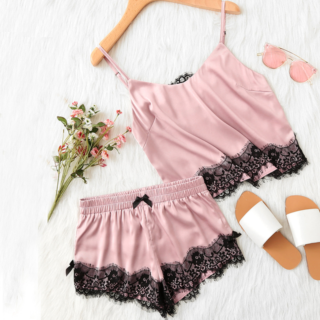 2f31c8b5cca86 Pink Sexy Contrast Lace Trim Satin Lace Cami Tops Shorts Sleeveless  Nightwear for Women Casual Shorts Pajama Set Summer Women