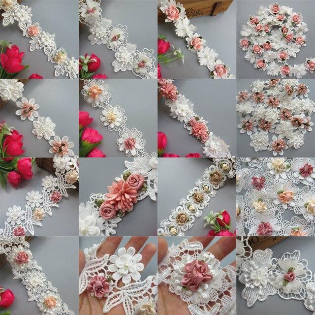 Poliéster solúvel 3D Flores Coloridas Pérola Bordado Guarnição do Laço de Fita de Tecido Feito À Mão Costura Craft Para O Traje Chapéu Decoração