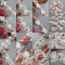 Soluble Polyester 3D Colorful Flowers Pearl Embroidered Lace Trim Ribbon Fabric Handmade Sewing Craft For Costume Hat Decoration(China)