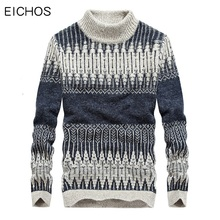 EICHOS Winter Turtleneck Sweaters Mens Round Neck Warm Knitted Pullover Cotton Christmas Jumper men Causal Style Male Sweater