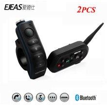 Ejeas E6 プラス 2 個の bt オートバイハンドルバーヘッドセット 6 ライダー 1200 メートル Communicator ヘルメットインターホン VOX Bluetooth インターホン