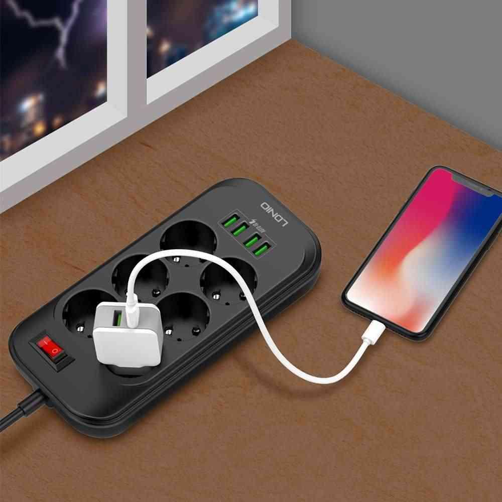 LDNIO الاتحاد الأوروبي التوصيل الذكية الكهربائية تمديد المقبس قطاع الطاقة 3.4A 6 منفذ 4 USB مهايئ شاحن عرام حماية التبديل المنزل