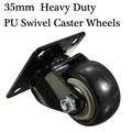 2 Pcs Lot 35mm Heavy Duty Pu Swivel Castor Wheels Trolley Furniture Caster Rubber Brass Furniture Casters