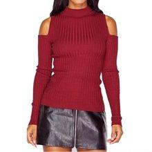 Fashion Womens Ladies Long Sleeve Top Sweater Off Shoulder Knit Jumper Knitwear