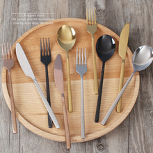 Kubac 24 PCS Gold Dinnerware Set Black Stainless Steel Dinner Knife and Fork Rose Gold Cutlery Set Silver Drop Shipping