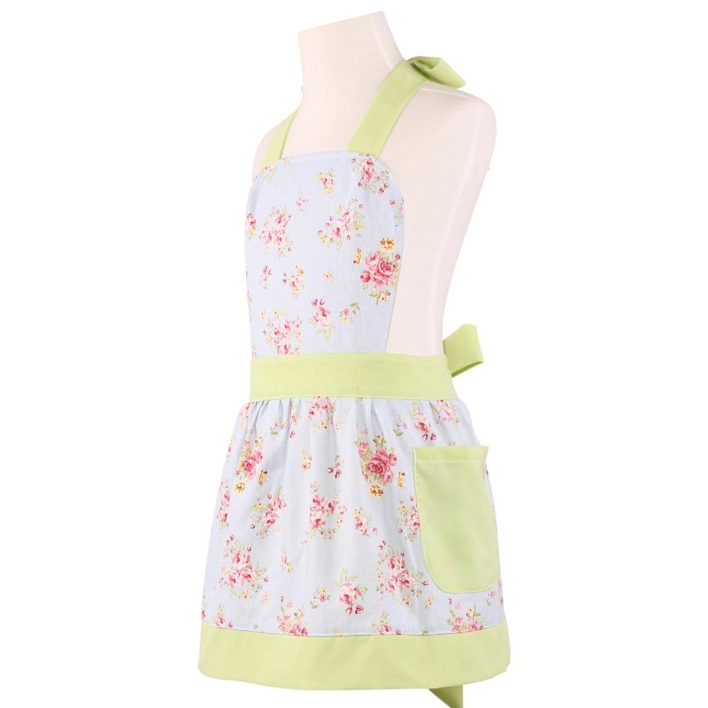 Kitchen Apron For Kids Nutri Neoviva Cotton Canvas Girls With Pockets Little Diana Floral Ballad Blue Children S Child Delantal