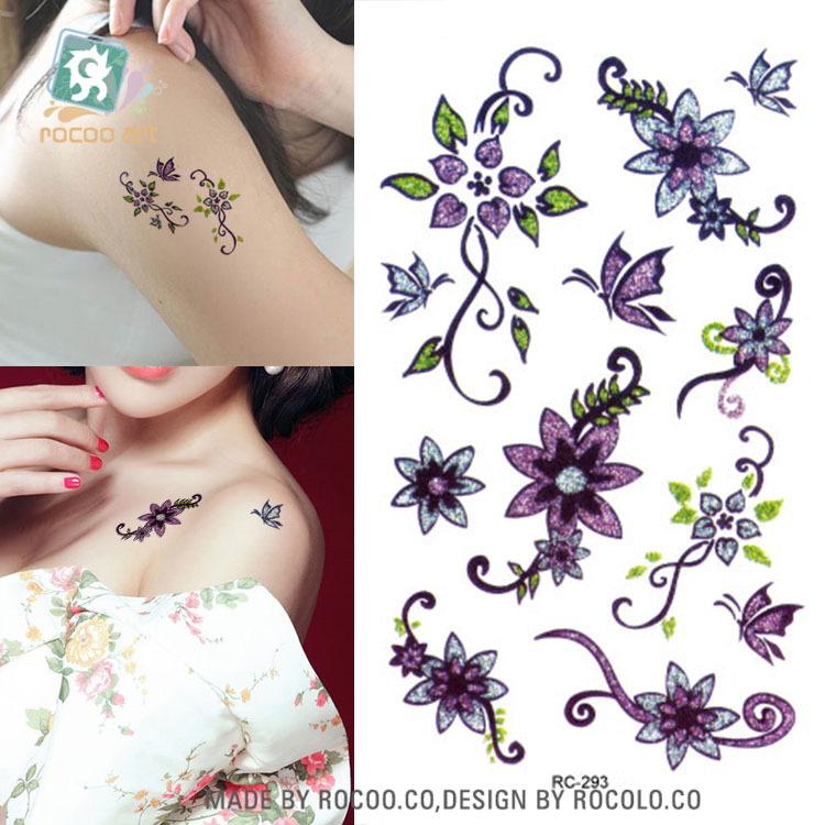 Body Art Waterproof Temporary Tattoos For Women And Men 3d Sexy Purple Flower Design Small Arm Tattoo Sticker Wholesale RC2293