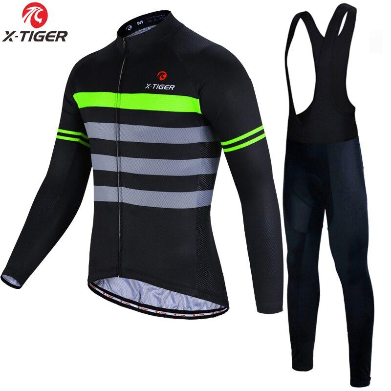 X Tiger Pro Cycling Jersey Set Long Sleeve Mountain Bike Clothes Wear Men Racing Bicycle Clothing