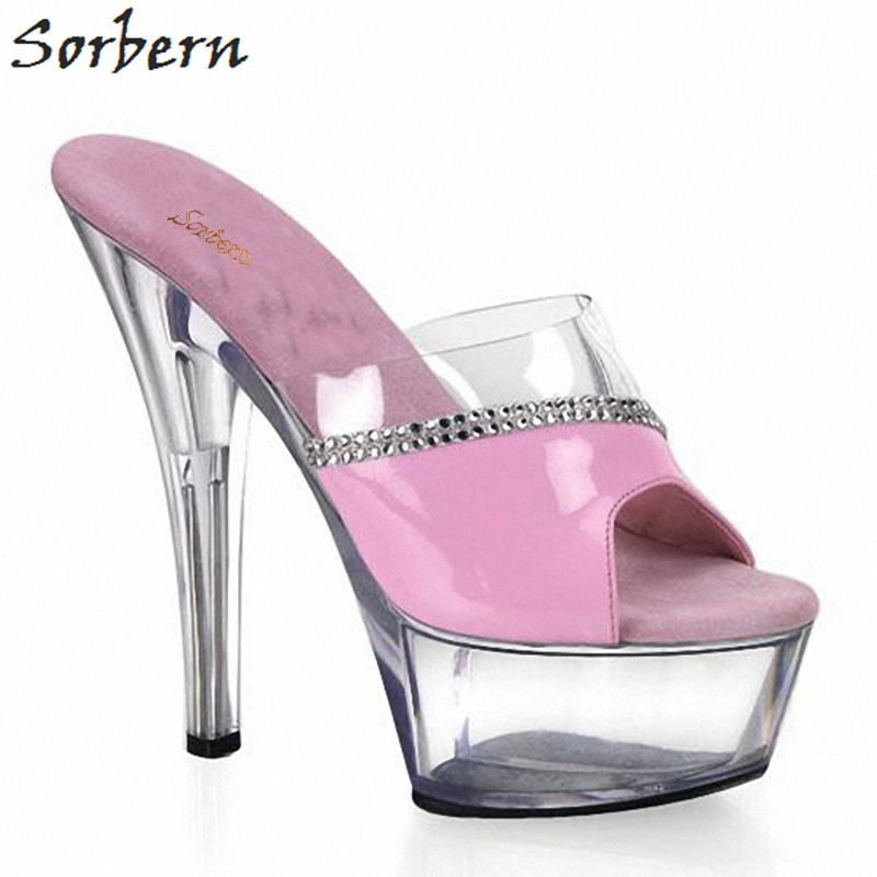 b50830e4c67 Sorbern Sexy 15Cm Super High Heels Outdoor Slippers Women Open Toe  Transparent Heels Platform Clear Pvc Patent Leather Slides