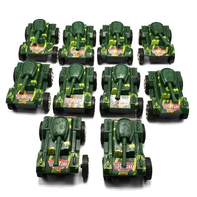 Plastik Kamuflase Tank Mainan Menarik Kembali Kendaraan Lapis Baja Anak-anak Model Mainan untuk Anak Mobil Hadiah