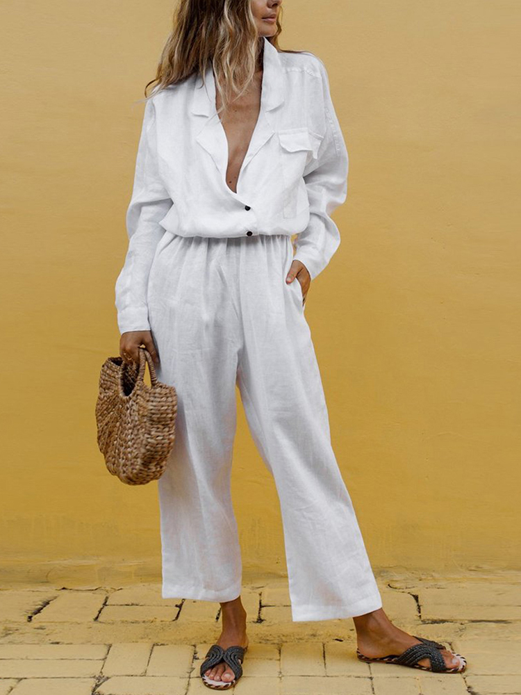 Cotton Linen Summer Two Piece Set Women Suits 2019 Solid V-Neck Pockets Tops And Long Trousers Casual Tracksuit 2 Piece Set