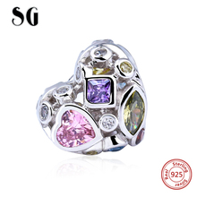 New Fashion 925 Silver 2017 Heart With Colour CZ Charms Beads Fit Authentic Pandora Bracelets Jewelry Making DIY For Love Gifts