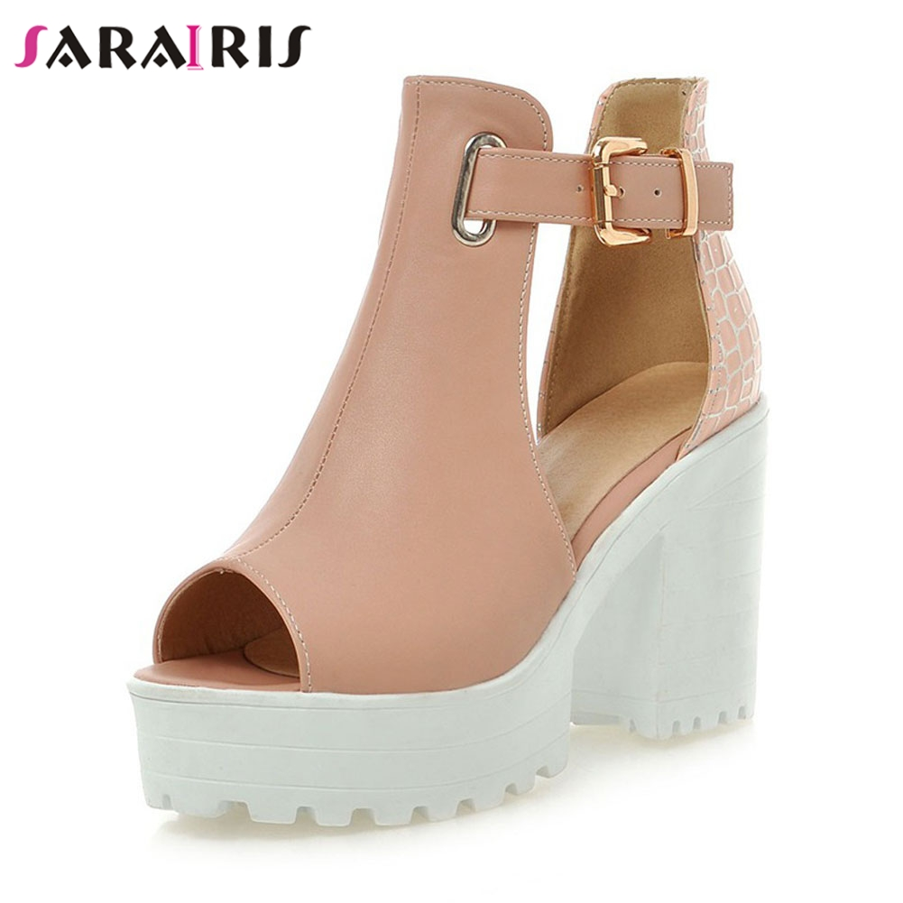 SARAIRIS Plus Size 34 46 Fashio Hot Sale Summer Platform Sandals Women Elegant Metal Buckle High Wide Heels Date Shoes Woman