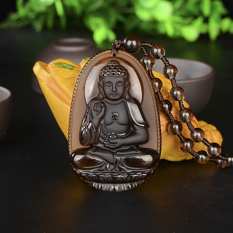 Buddha Guardian Gods Pendant Necklace Women Men Synthetic Ice Species Obsidian Carved Buddha Lucky Amulet Necklace Jewelry