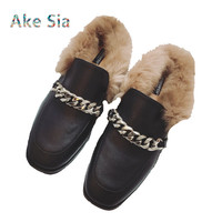 2017 Spring Autumn Fashion Leather Shoes Woman With Metal Chain Flat Slippers Fur Slides Mules Casual