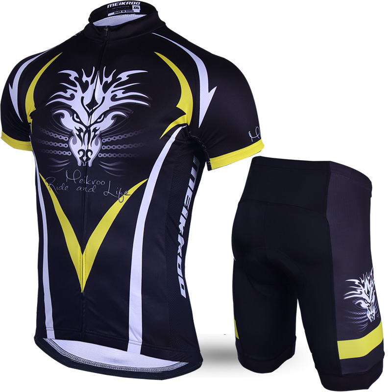 Meikroo High Quality Men's Cycling Jersey Short Sets 3D Padded Summer Sports Shirt Tops Cycling Clothing Ropa Ciclismo