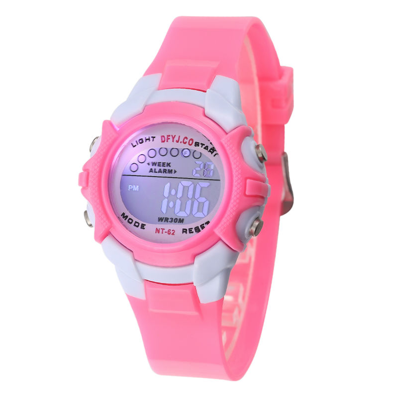 Fashion Lovely Pink Girl Watch Children Watch LED Digital Wrist Sport Watches Silicone Boys Students Clock Kids Outdoor Watch