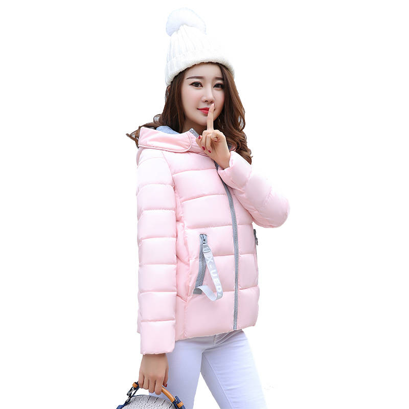 Thick Coat Korean Jacket Padded Short Hooded Cotton Women Ladies Zipper Long-Sleeve