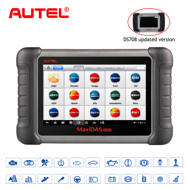 Autel OBD2 Scanner Car Diagnostic Tool  Maxidas DS808K OBD Scanner Swift Diagnosis Functions of EPB//DPF/SAS/TMPS Same as  MS906