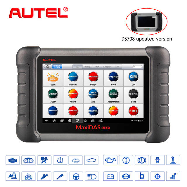 Autel OBD2 Scanner Car Diagnostic Tool Maxidas DS808K OBD Scanner Swift  Diagnosis Functions of EPB//DPF/SAS/TMPS Same as MS906