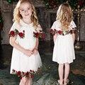 Meninas subiram vestido de 2017 a primavera eo verão novos produtos infantis roupas vestido de Praia bordados mangas princesa vestidos para meninas