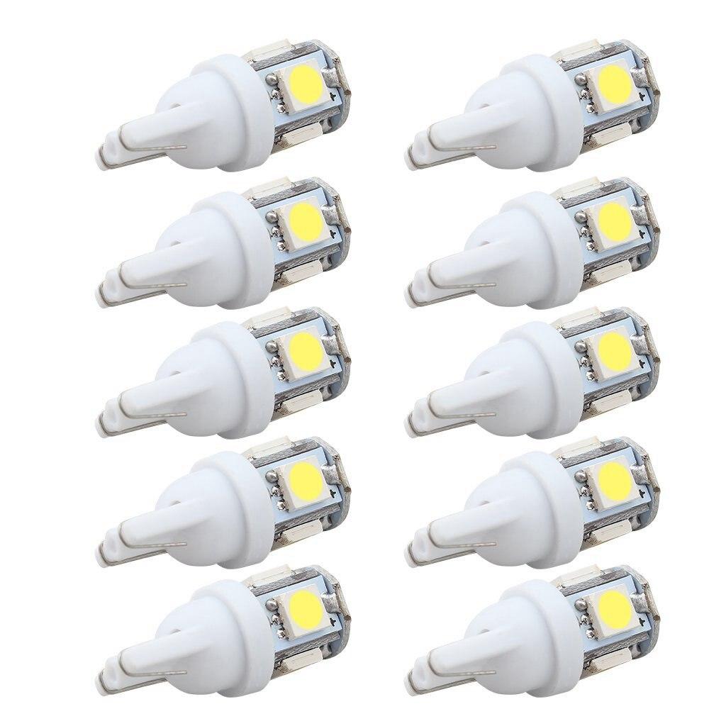 10 pçs led carro dc 12v lampada luz t10 5050 super branco 194 168 w5w t10 led estacionamento lâmpada auto cunha lâmpada de afastamento