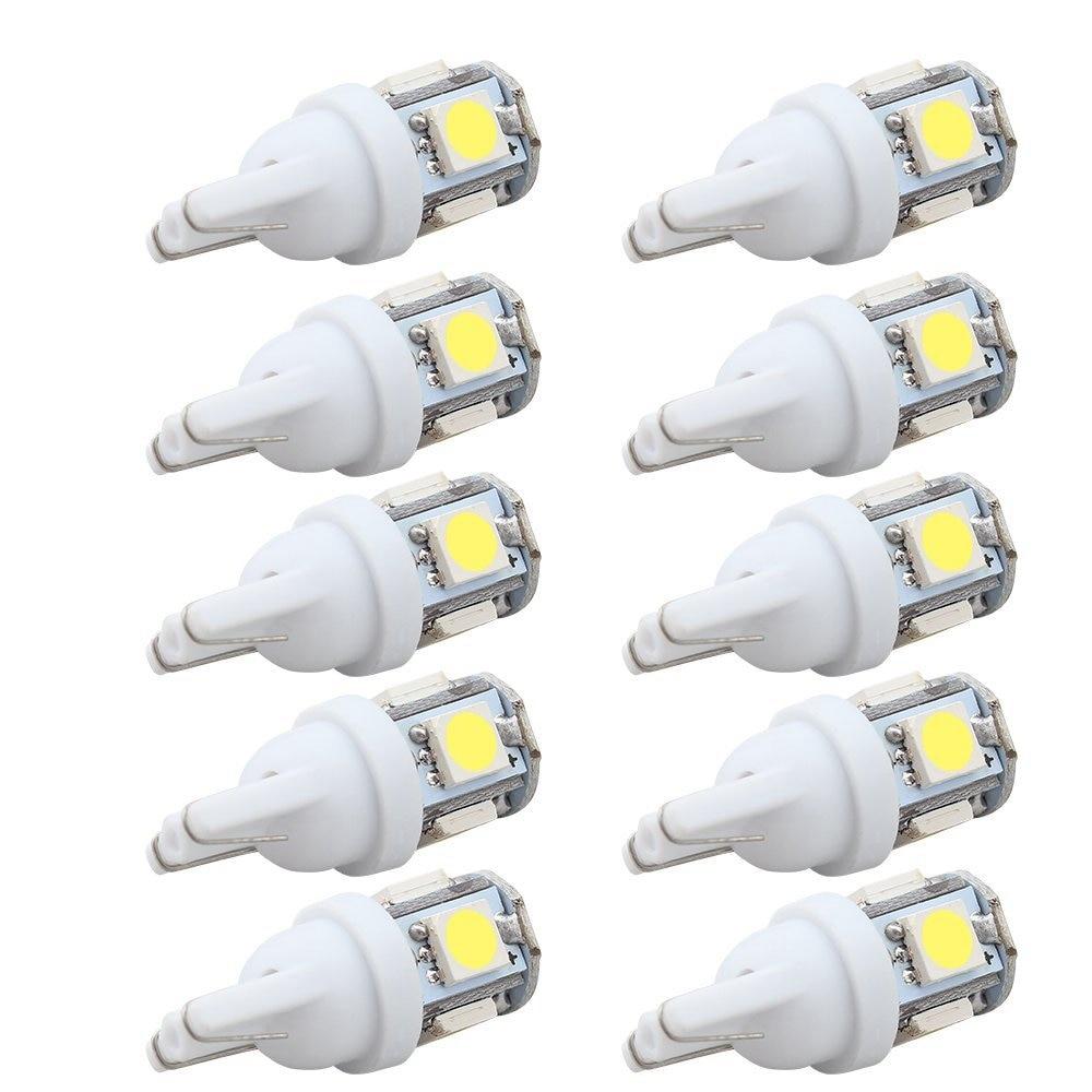 10PCS LED รถ DC 12 V หลอดไฟ Light T10 5050 Super สีขาว 194 168 W5W T10 LED หลอดไฟที่จอดรถ Auto WEDGE โคมไฟ Clearance