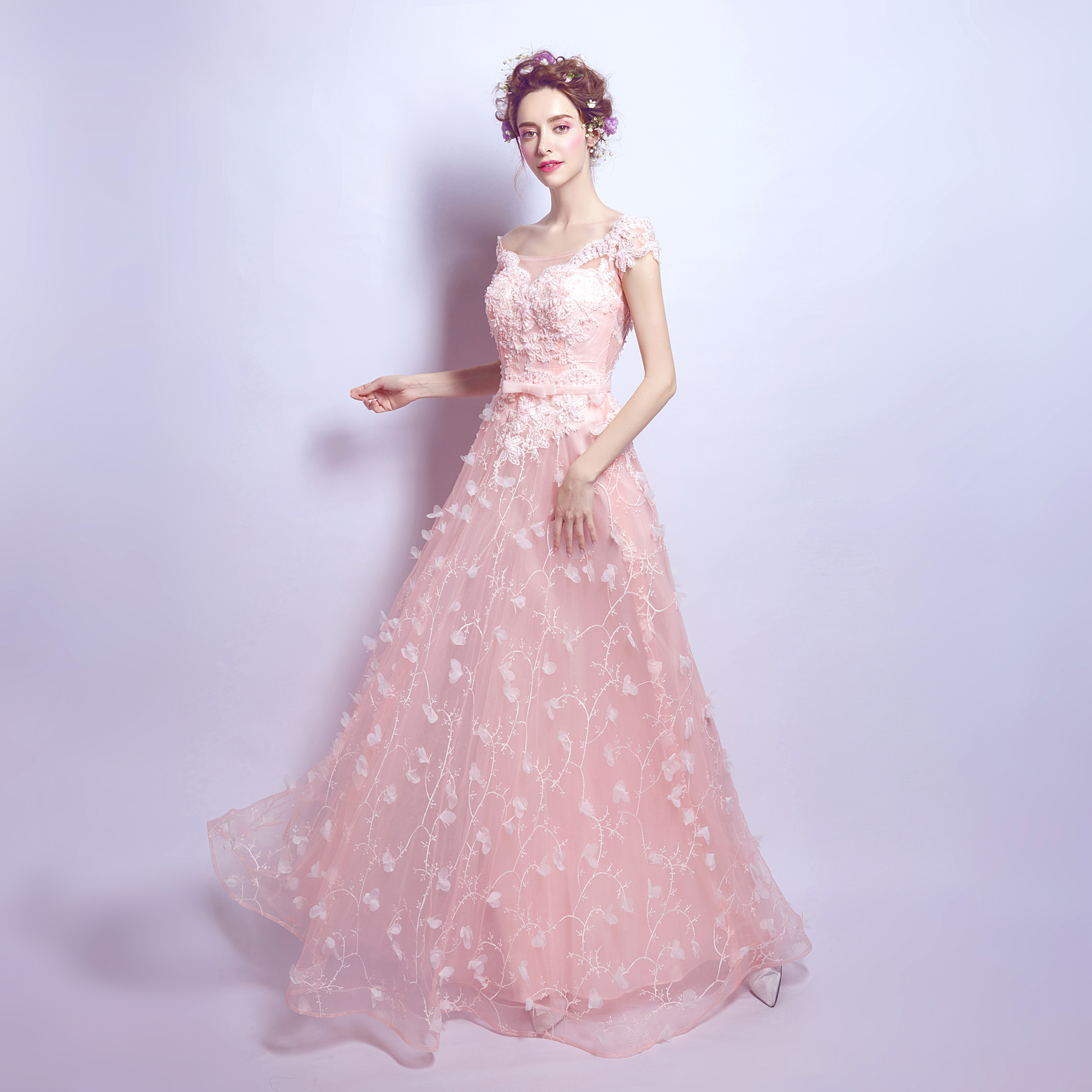 2017 SSYFashion Evening Dress Bride Banquet Sweet Pink Lace Flower ...