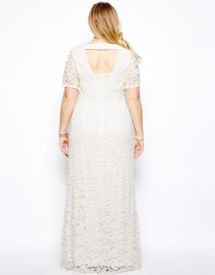 New 2015 fashion fat people white lace party dress women backless long maxi dress  plus size summer casual dress vestidos c449313ebe17