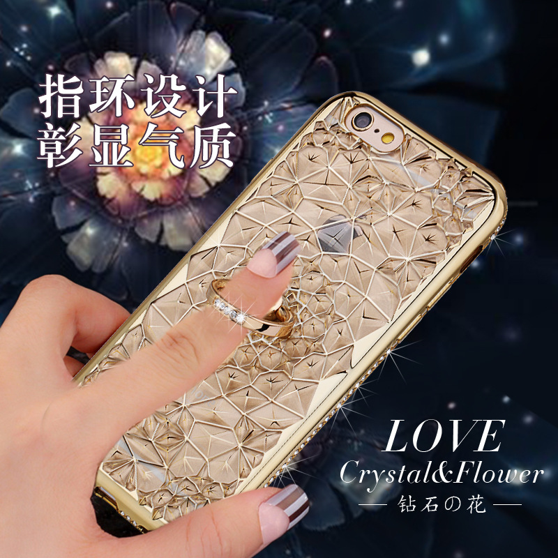 HTB1saoOQ9zqK1RjSZFjq6zlCFXaT For iPhone 11 Pro XS Max XR Case Luxury 3D Soft Ring Capa For iPhone 5 6 6S 7 8 Plus Ring Silicon Glitter Rhinestone Stand Cover