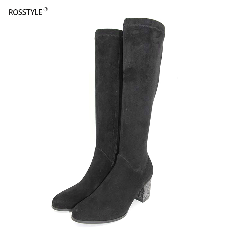 ROSSTYLE Fashion Side Zipper Keep Warm Fleeces Lining Mid-Calf Boots Spring Autumn Comfortable Round Toe Woman Shoes Black H6