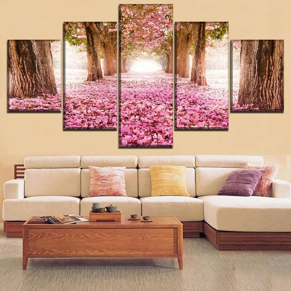 מודולרי הדפס בד אמנות פוסטר ציורי עץ פריחת סאקורה פרק 5 Pieces סמטה מסגרת תמונה בסלון הבית וול דקור