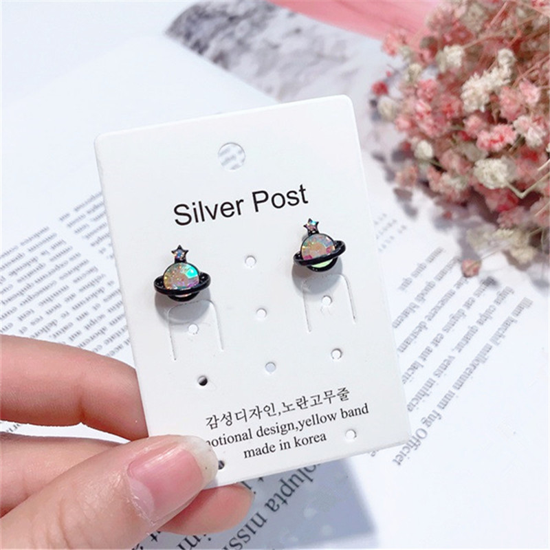 2018 fashionable colourful rhinestone saturn stud earrings cute star lovely korean earrings for women wholesale jewelry