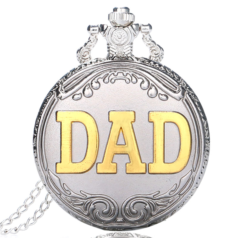 Silver Color DAD Father  Quartz Pocket Watch Analog Pendant Necklace Gift For Men
