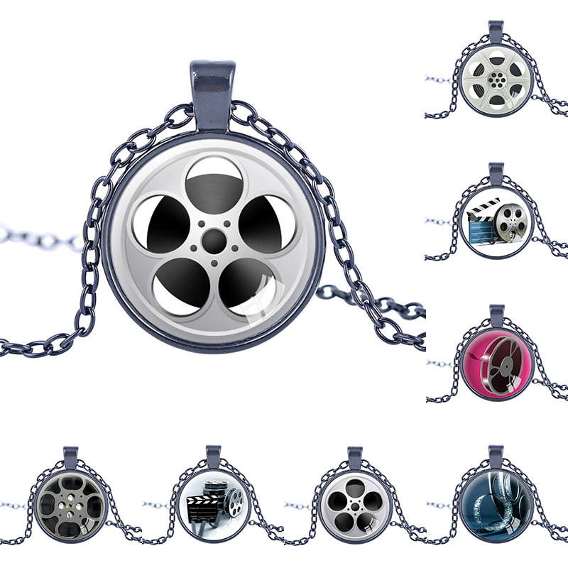 New Design Film Reel Pendant Film Reel Pendants Charm Movie Pendant Necklace Movies Film Theatre jewelry statement necklace ...